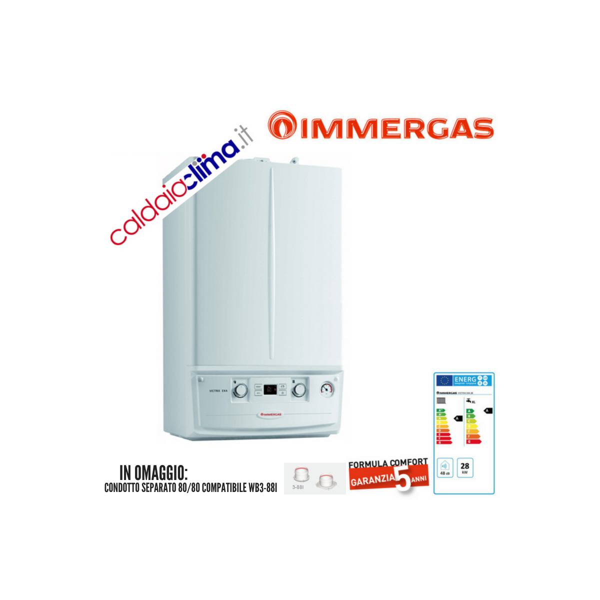 Caldaia a condensazione Immergas Victrix Exa 28-28 kw Metano